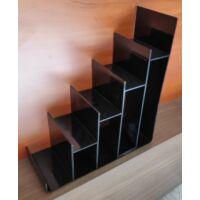 Pénztárcatartó, plexi, emeletes, FEKETE, 265 x 295 x 110 mm
