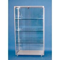 Alumínium keretes üveg vitrin, 1000x500x1800 mm, lábazattal vagy kerékkel