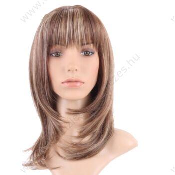 Női paróka, félhosszú, világos barna, szőke melírral