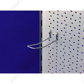 Perforált lemezbe akasztható horganyzott DUPLA kampó, többféle méretben