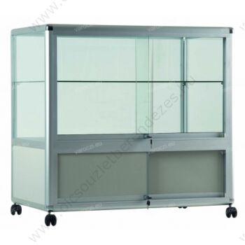 Alumínium keretes, gurulós és tárolós PULTVITRIN, 1000x500x1000 mm, lábazattal vagy kerékkel