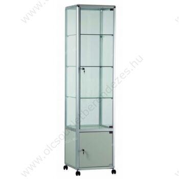 Alumínium keretes gurulós és tárolós vitrin, 500x500x1950 mm, lábazattal vagy kerékkel