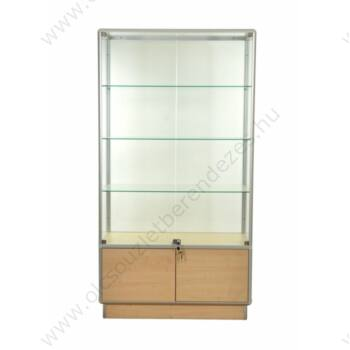 Alumínium keretes üveg vitrin tárolóval, 1000x500x1950 mm, lábazattal vagy kerékkel