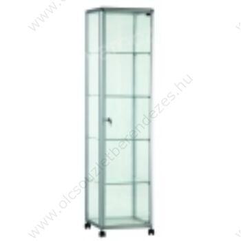 Alumínium keretes üveg vitrin, 500x500x1900 mm, lábazattal vagy kerékkel